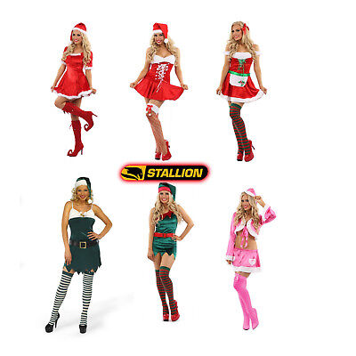 £17.99 • Buy Ladies Mrs Santa Claus Elf Outfit Xmas Sexy Costume Adults Christmas Fancy Dress