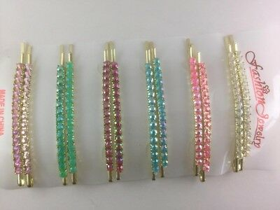 NEW Pair Diamante Crystal Kirby Gold Hair Clip Pin Slide Grip Girl Ladies Party  • 1.99£