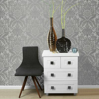 Signature Silver And Grey Damask Wallpaper By Crown Floral Leaf Feature M1067 • 9.99£