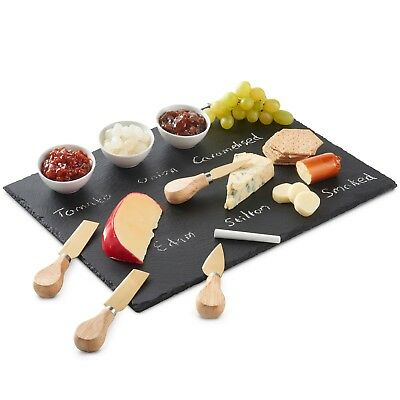 £17.99 • Buy VonShef Slate Cheese Board With Knives And Small Dipping Bowls 9pc Set