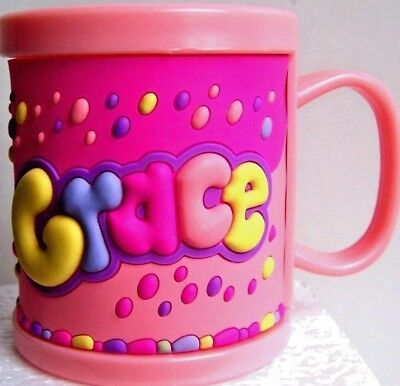 Girl Childrens 3D Personalised Name Plastic Cup/Mug New GRACE • 2.99£