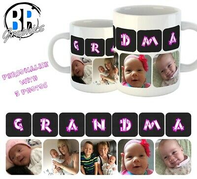 PHOTO GRANDMA MUG Personalised Christmas Gift Best Gran Birthday Present Cup Nan • 6.49£
