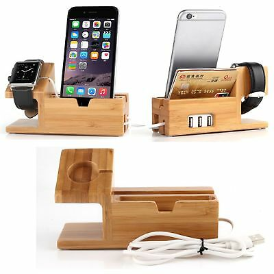 AU17.76 • Buy Bamboo Charging Dock Station Charger Holder Stand For Apple Watch And IPhone
