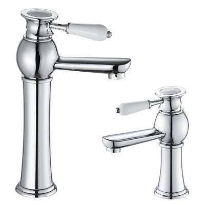 Traditional Tall Bathroom Basin Taps Counter Top Mixer Tap Single Lever Chrome • 22.99£