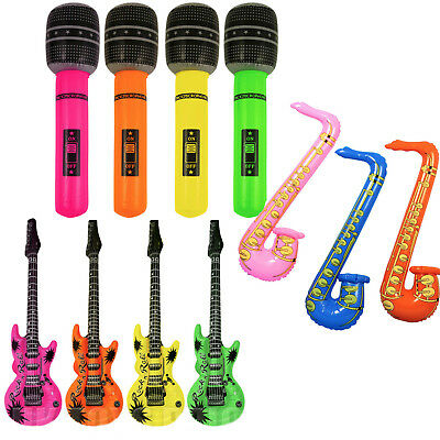 £3.29 • Buy Inflatable Microphone Guitar Blow Up Instrument Saxophone Toy Role Play Birthday