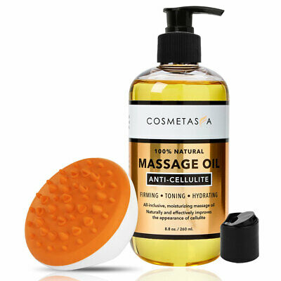 Anti Cellulite Massage Oil 8.8 Oz With Cellulite Massager By Cosmetasa • 11.91£