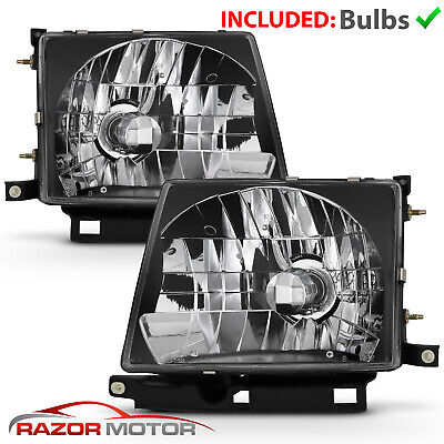 Jdm Black Headlight Pair W Bulb For Toyota Tacoma 1997 2000 2wd 1998