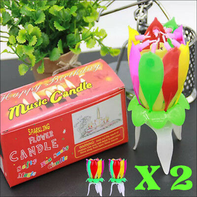 $ CDN20.13 • Buy 2 X Lotus Candle Birthday Flower Musical Floral Cake Candles /w Music Magic X 2