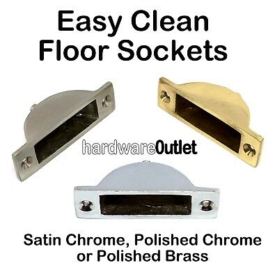 Qty 2 EASY CLEAN FLOOR SOCKET For Flush Bolts Brass Satin Or Polished Chrome  • 3.47£