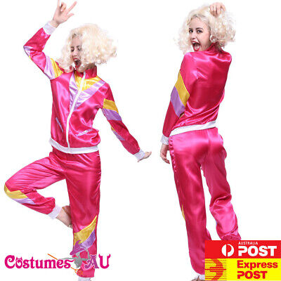 £15.38 • Buy Ladies 80s Retro Neon Tracksuit Height Of Fashion Pink Costume 1980s Shell Suit