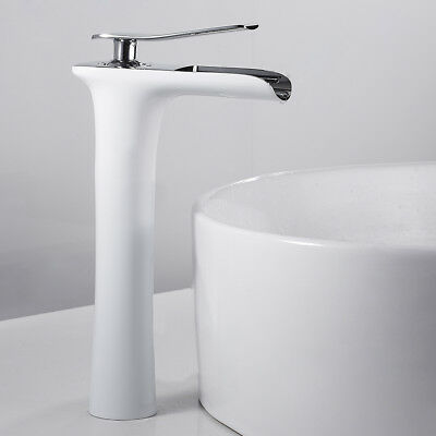 Bathroom Basin Mixer Taps Tall Waterfall Counter Top Round Brass Faucet White • 35.96£