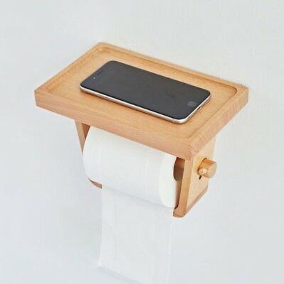 AU34.98 • Buy Wooden Bamboo Toilet Paper Roll Holder W Shelf – Hand Made; Wall Mountable