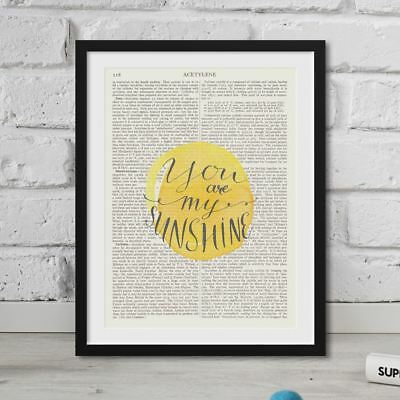 Dictionary Page Art You Are My Sunshine On Vintage Book Quote Antique FRAMED • 6.49£