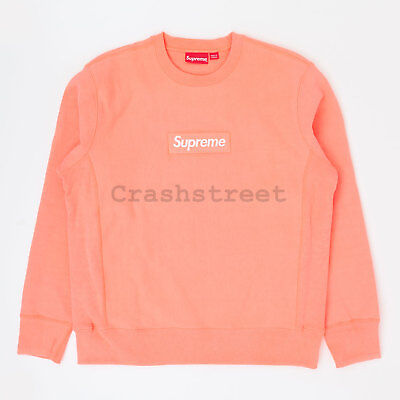$ CDN1184.06 • Buy Supreme FW18 Box Logo Crewneck Split Hooded Long Sleeve Sweatshirt Coral Peach