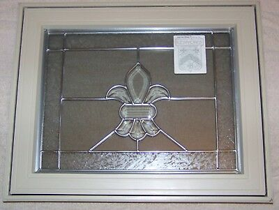 Kenyon Stained Glass Factory Leaded Beveled Etched Glass Casement Awning Window • 750$