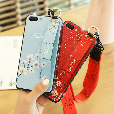 AU6.91 • Buy For OPPO F9 F5 A3S AX5 A57 A59 A83 Bling Glitter Case Strap Stand Soft TPU Cover