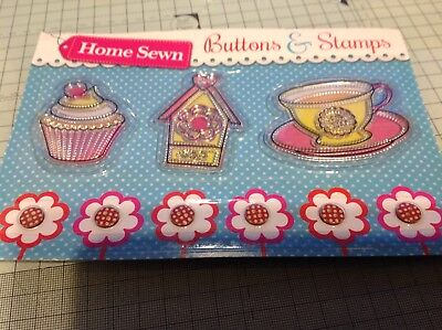 Clear Stamps, Home Sewn Stamps And Buttons • 3.50£