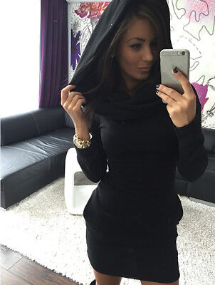 $ CDN21.72 • Buy Women's Hoodie Dress Long Sleeve Bodycon Short Clubwear Dress Plain Color C401