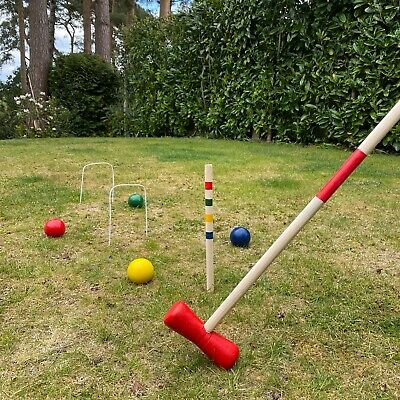 Croquet Traditional Set For 4 Players Wooden Garden Lawn Outdoor Game • 22.99£