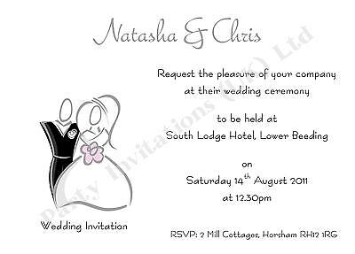 £5 • Buy 10 Personalised Wedding Day/Evening Invitations - Also Save The Date & Thank You