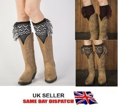 £3.49 • Buy Pair Of Women's Knitted Boot Cuffs Toppers Short Ankle  Shin Leg Warmers