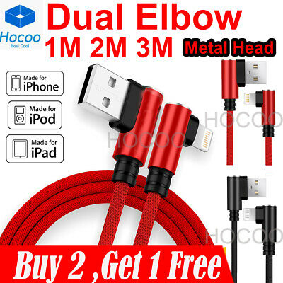 AU9.99 • Buy For IPhone 6 7 8 Plus X Braided 90 Degree Lightning Cable USB Data Charger Cord