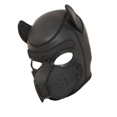Leather Dog Puppy Hood Mask Quality Neopreme Full Face Snout Ears Costume Party • 17.60£