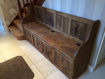 6 Ft Rustic Plank Style Monks Bench/Settle/Pew With Storage (MADE TO ANY SIZE) • 520£