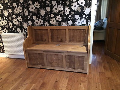 5 Ft Rustic Plank Style Monks Bench/Settle/Pew With Storage (MADE TO ANY SIZE) • 382£