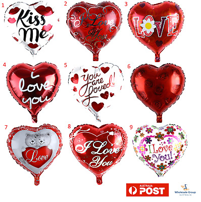 AU6.95 • Buy Foil Heart Shaped Balloon I Love You Valentines Wedding Birthday Friend Party