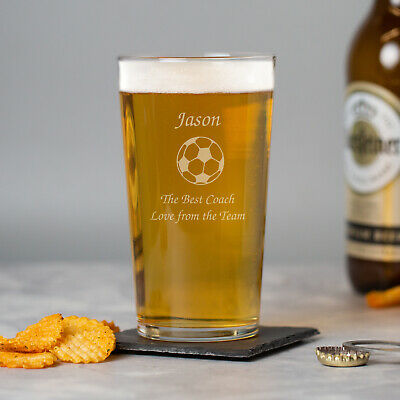 £8.99 • Buy Personalised Engraved Tulip Pint Glass Football Coach End Of Season Gifts Awards