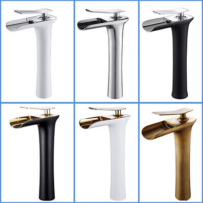 Bathroom Waterfall Basin Mixer Taps Tall Counter Top Brass Faucet White Black • 35.89£