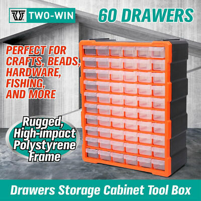 AU53.59 • Buy Tool Storage Bin Parts Organizer Drawers Cabinet Box Chest Plastic With Dividers