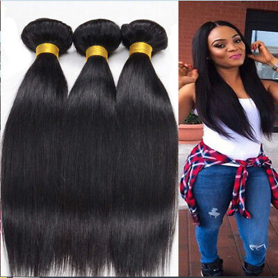 £21.77 • Buy Peruvian Straight Human Hair 3 Bundles/300g Weft 100% Remy Hair Extensions Weave