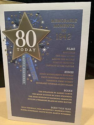 80th Today Year You Were Born In Birthday Card 1940 Unique Style  • 3.65£