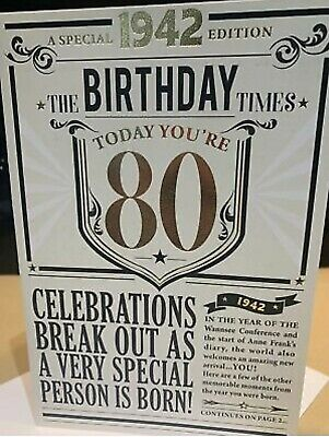 £3.99 • Buy 80th  Year You Were Born In Happy Birthday Card 1941 Events  Newspaper Style