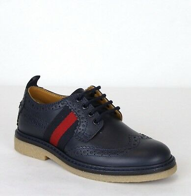 86713194cee Gucci Boy Children s Navy Blue Leather Dress Shoes Gucci 27 US 10.5 433130  4061 •