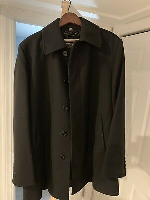 $600 • Buy Burberry Mens Wool Coat Show Room Worn Twice Large Black Dressy Button Up London