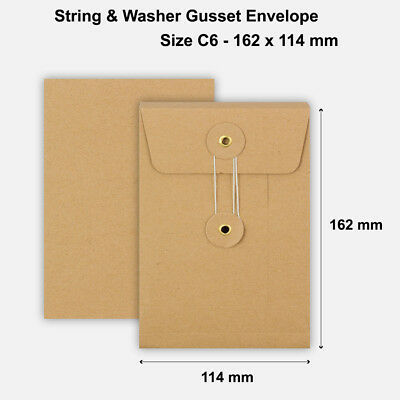 C6 Size Quality String And Washer Envelopes Button Tie Brown Manilla Cheap • 10.49£