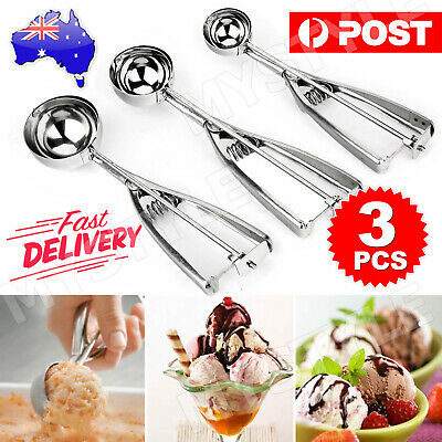 AU19.95 • Buy 3Pc 4/5/6cm Cake Mechanical Cookie Dough / Ice Cream Scoop Stainless Steel Spoon