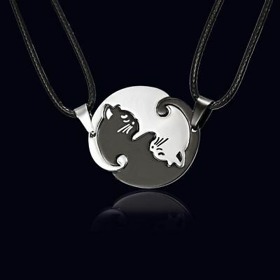 AU7.99 • Buy Ying & Yang Cat Necklace Pendant Chain Set Tai Chi Silver Necklace Jewelry