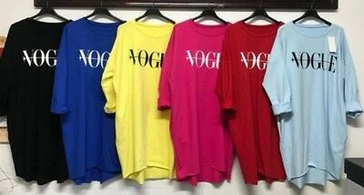 Ladies Slogan Print Baggy Oversized 'Vogue' Sweatshirt Jumper High Low Dress Top • 12£