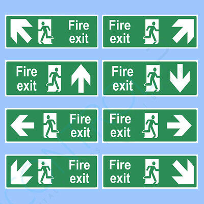 Fire Exit Sign, Sticker - ALL SIZES - Emergency, Escape, Fire Drill, Safety • 1.29£