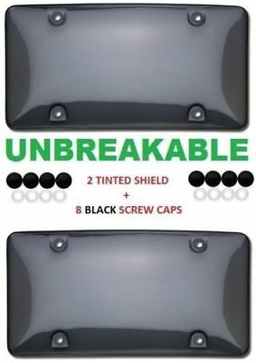 2 Unbreakable Tinted Smoke License Plate Tag Holder Frame Bumper Shield Covers • 8.94$