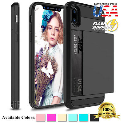 AU10.93 • Buy Fits Apple IPhone Shockproof Hard Case With Wallet 2 Credit Cards Holder Cover