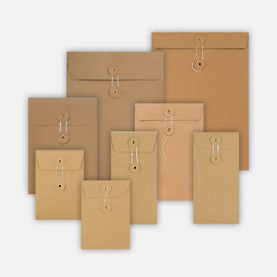 All Size Brown String & Washer Envelopes Button Tie Manilla Fast&Free Delivery • 5.49£