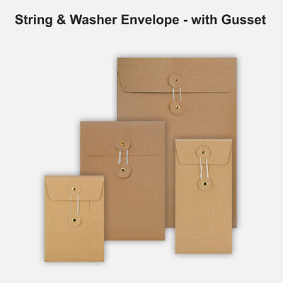 All Size Brown String&Washer With Gusset Envelope Button Tie Manilla Free P&P • 9.99£