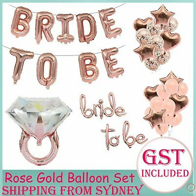 AU3.69 • Buy Rose Gold Bridal Shower Decorations Bride To Be Banner Engagement Ring Balloon A