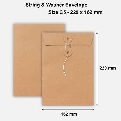C5 Size Quality String&Washer Without Gusset Envelope Button Tie Manilla • 5.99£
