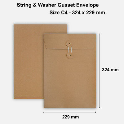 C4 Size Quality String&Washer With Gusset Envelope Button Tie Manilla • 37.99£